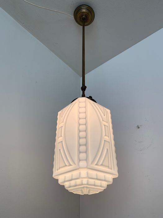 milk glass art deco trapeze pendant