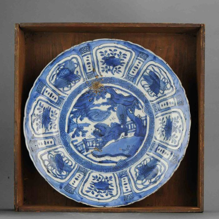 Charger - Porcelain - Huge Wanli Qilin Kraak Charger Antique Ming China - China - 17th century - Catawiki