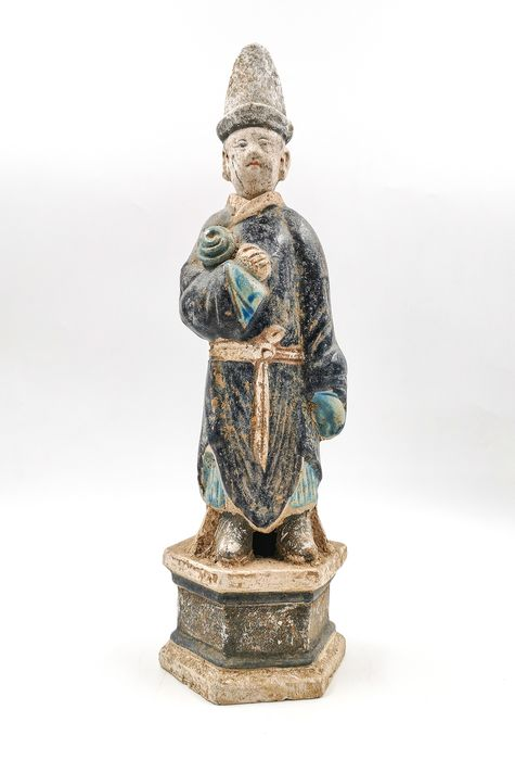 Ancient Chinese Ming Dynasty Glazed Terracotta Attendant Statue - Catawiki