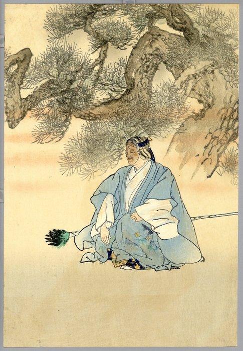 "Original woodblock print - Tsukioka Kogyo (1869-1927) - Takasago - From the series ""One Hundred Noh Plays"" - 1924 - Japan - Catawiki"