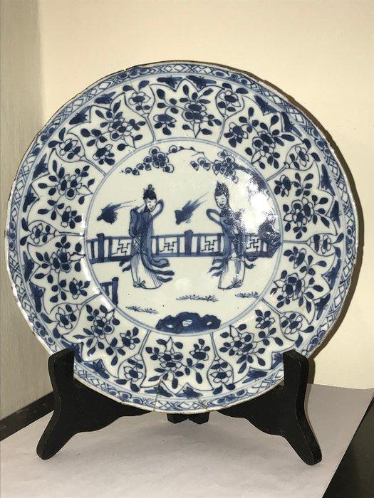 Chinese porcelain plate, Kangxi period, 18th century (1) - Blue and white - Porcelain - Long Lijs - China - Kangxi (1662-1722) - Catawiki