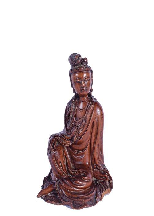 Figure - Boxwood - Guanyin - A Fine Chinese Boxwood Figure of GuanYin - China - 17th/ 18th century, Kangxi/Yongzheng - Catawiki