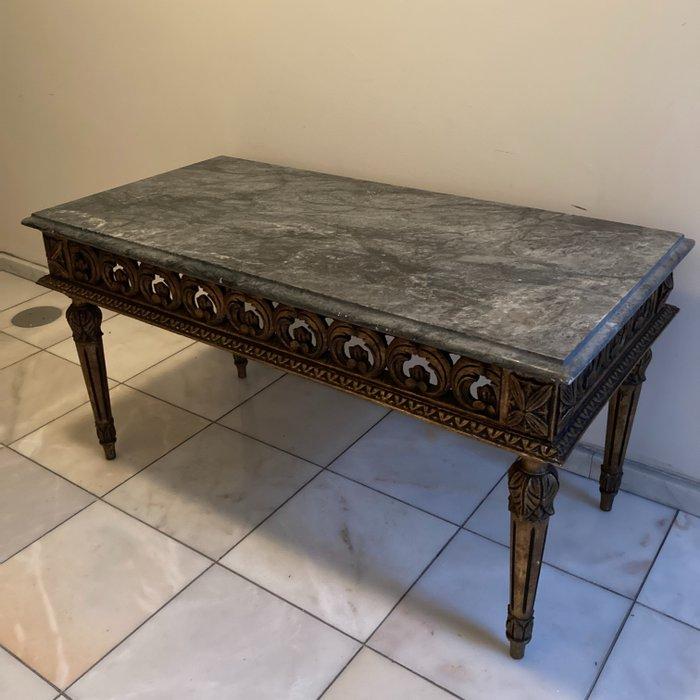 belle table basse doree et marbre