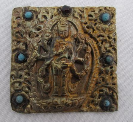 A top Ghau - Bronze, Copper, Glass paste, Ruby stone, Turquoise - Tibet / Nepal - 19th century