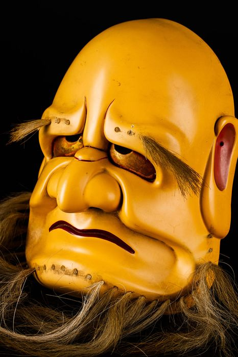 Noh mask (1) - Lacquer, Wood - Very fine, signed - Japan - Meiji period (1868-1912) - Catawiki