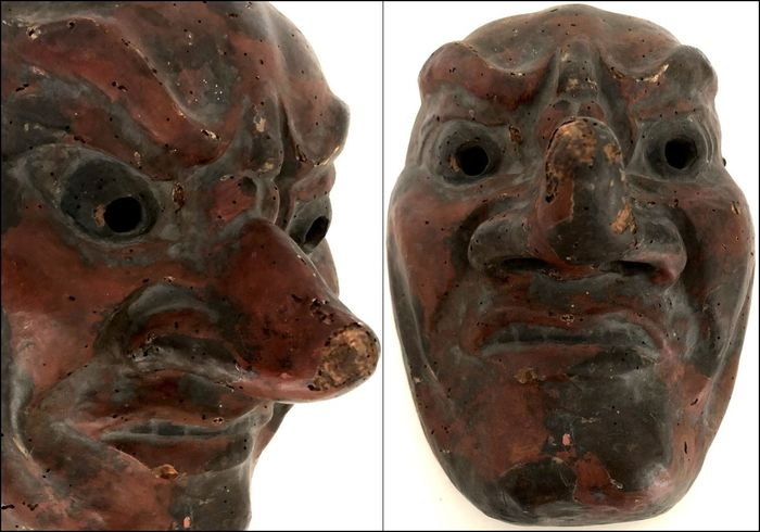 Impressive very old Noh mask of Tengu 天狗 - Clay and wood with lacquer - Japan - Edo period, ca. 1750 - Catawiki