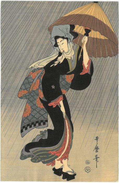 Woodblock print (reprint) - Kitagawa Utamaro (1753-1806) - After Beauty in the rain - Japan - ca 1907-15 - Catawiki