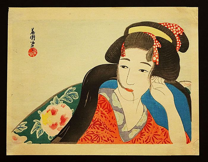 Original woodblock print - Hirezaki Eihō (1880-1968) - Bijin - First half 20th century - Japan - Catawiki