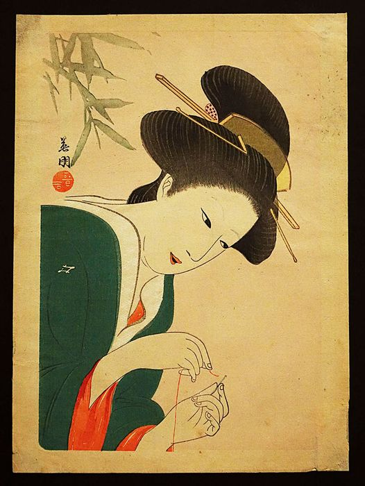 Original woodblock print - Hirezaki Eihō (1880-1968) - Bijin Sewing - First half 20th century - Japan - Catawiki