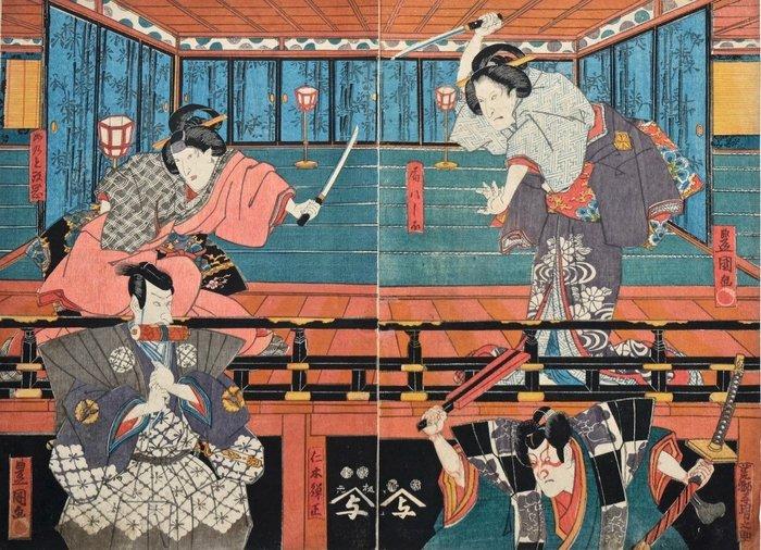 Diptych, Original woodblock print - Utagawa Kunisada (1786-1865) - Kabuki actors in the roles of Nikki Danjo and Arajishi Otokonosuke - Japan - 1849