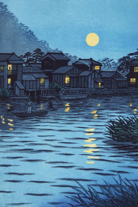 "Original woodblock print - Published by Unsodo - Kasamatsu Shiro (1898-1991) - ""Katasegawa tsukinode"" 片瀬川月の出 (Rising Moon at Katase River) - Japan - Heisei period (1989-2019) - Catawiki"