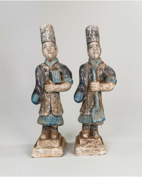 Ancient Chinese Ming Dynasty Terracotta Pair of Glazed Figurines