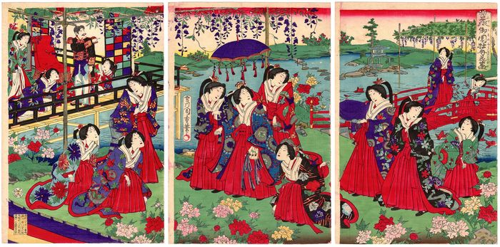 "Original woodblock print, Triptych, Extremely rare - Utagawa Morikawa Chikashige (act. ca. 1869-82) - ""Fuji no misono fuki no sakizono"" 藤御園牡丹花盛 (Peonies in Full Bloom in the Wisteria Park) - Japan - 1880 - Catawiki"