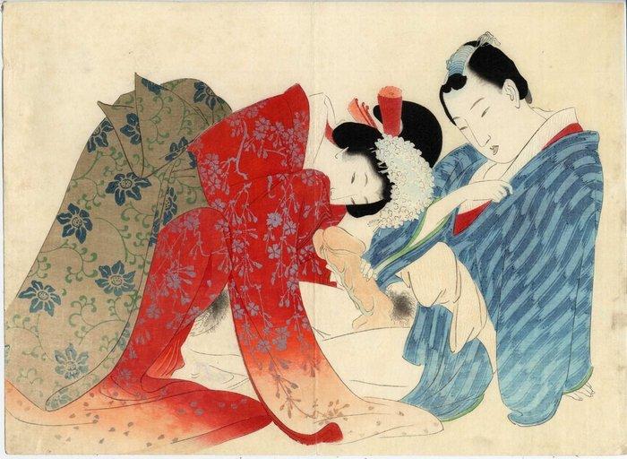 Original woodblock print, Shunga - Tomioka Eisen (1864-1905) - Japan - 1899