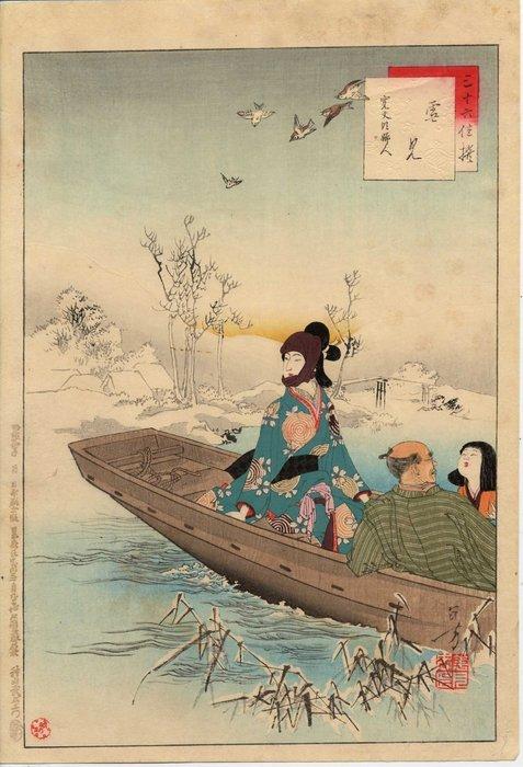 "Original woodblock print - Mizuno Toshikata (1866-1908) - 'Snow Viewing' - From series ""Sanjûrokkasen"" (Thirty-six Elegant Selections) - Japan - 1891 - Catawiki"