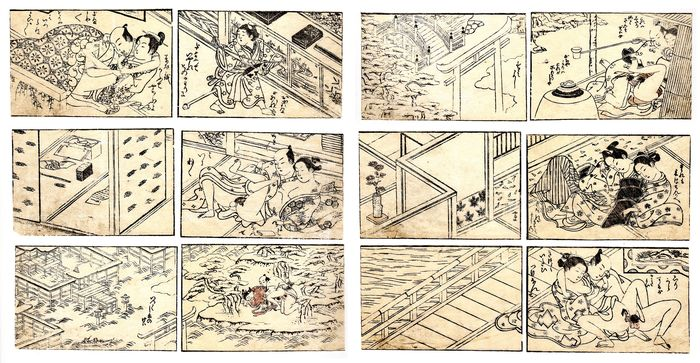 "Original woodblock print, Shunga - Nishikawa Sukenobu (1671-1750) School 西川祐信派 - N.6 Extremely Rare double page illustrations from the shunga book ""Koshoku Aka"" 好色赤 (Amorous Red) - Japan - ca 1750"