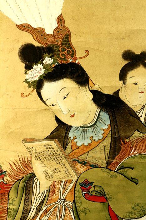 Hanging scroll - Paper - Chinese beauty - with signature Onata Takayasu '大永敬泰' - Japan - Meiji period (1868-1912)