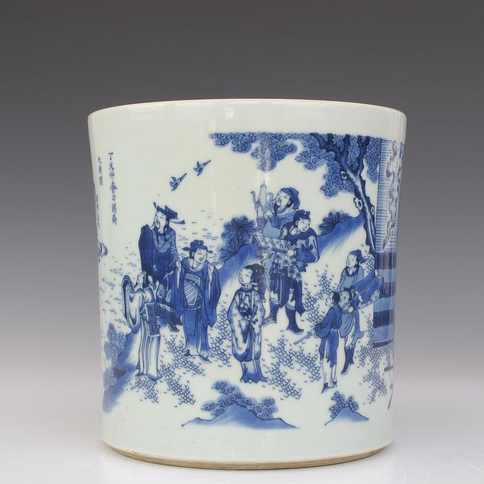 Brushpot 'bitong' (1) - Blue and white - Porcelain - Figures in a river landscape - China - Late 20th century