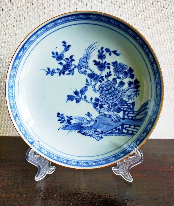 Plate (1) - Blue and white - Porcelain - Rooster - China - 18th century