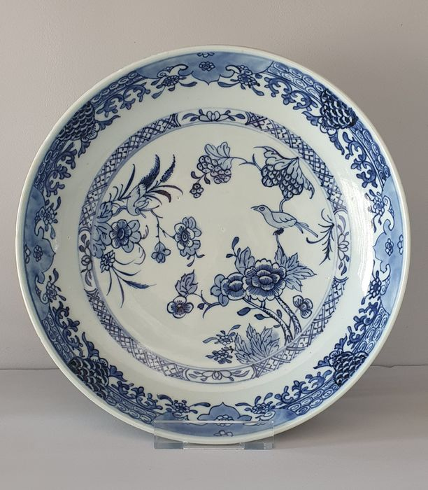 Plate (1) - Blue and white - Porcelain - Flowers and birds - Nice Deep Plate with Birds decor Ø 25 cm - China - Qianlong (1736-1795)