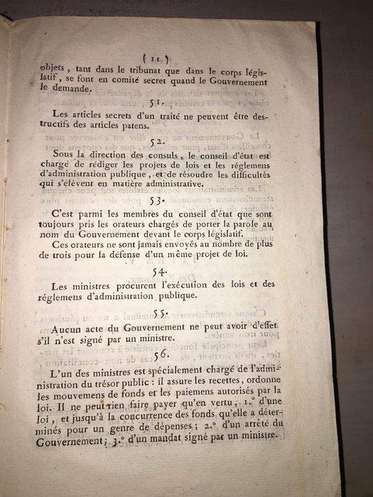 Constitution Du 22 Frimaire An Viii : constitution, frimaire, Consulat, Constitution, Frimaire, Catawiki