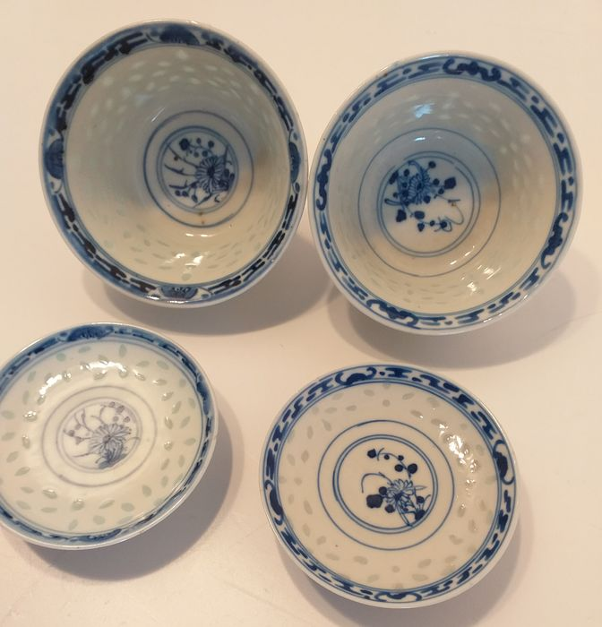 Bowls (4) - Blue and white - Porcelain - Rice grain pattern - China - Late 19th century