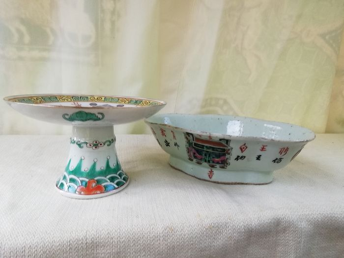 """Bowl, Stem bowl (2) - Famille rose, Enamel - Porcelain - Scholar, Calliography - """"ten thousand gifts"""" no reserve price - China - Late 19th century"""