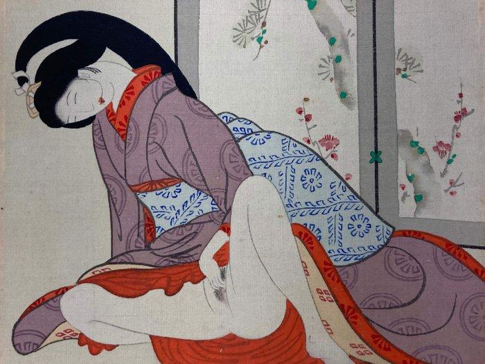Scroll, with 12 Shunga paintings - Silk - 春画(Shunga) - Japan - Taishō period (1912-1926)
