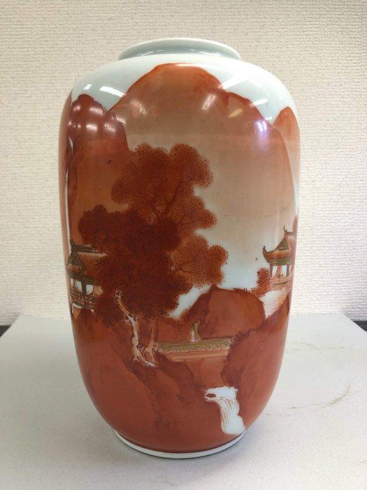 Vase - Ceramic - Kutani - 九谷焼山水楼閣図花瓶(Kutaniyaki Sansuirokakuzu Kabin) - Japan - Meiji period (1868-1912)