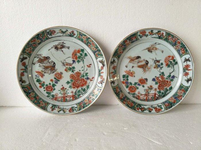 Dish (2) - Famille verte - Porcelain - Bird, Flowers - China - Kangxi (1662-1722)
