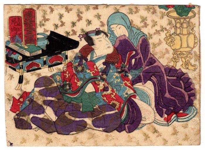 "Original woodblock print - Washi paper - Couple of Lovers - Utagawa School 歌川派 artist - Amagozen (Nun) 尼御前 from the shunga series ""Two Floating Leaves"" 浮葉二編 - Japan - Mid 19th century"