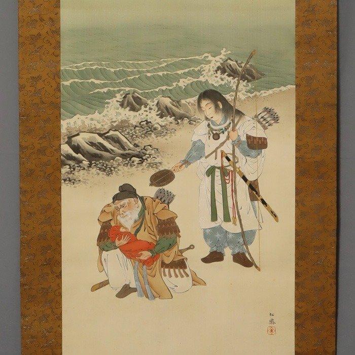 """Hanging scroll (1) - Tomo-bako - Silk - """"Empress Jingū/Takenouchi no Sukune"""" - Miyato Shosai(1857-1906) - Miyato Shosai(1857-1906) - """"Empress Jingū/Takenouchi no Sukune"""" - Japan - Meiji period (1868-1912)"""