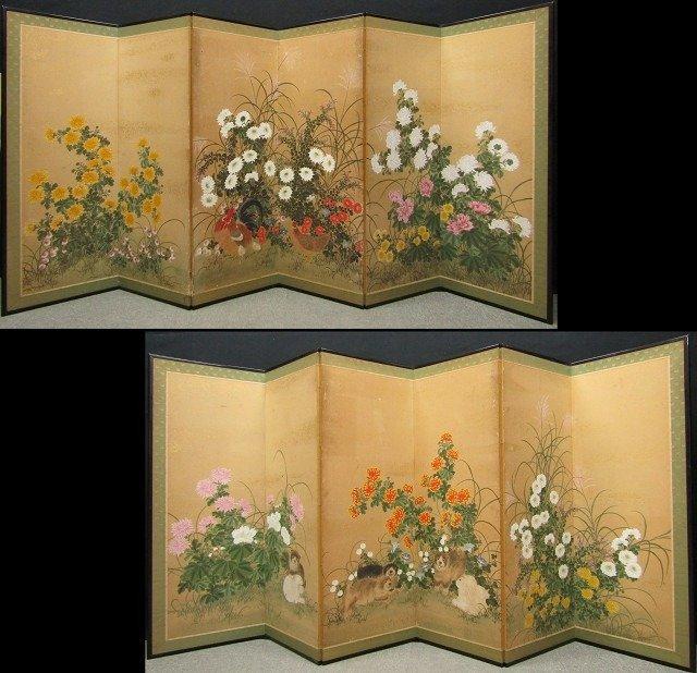 Byobu, Folding screen - Paper, goldleaf- Exceptional set of 2 six panel screens showing beautiful - Wood , Paper ,goldleaf - Japan - Late Edo period