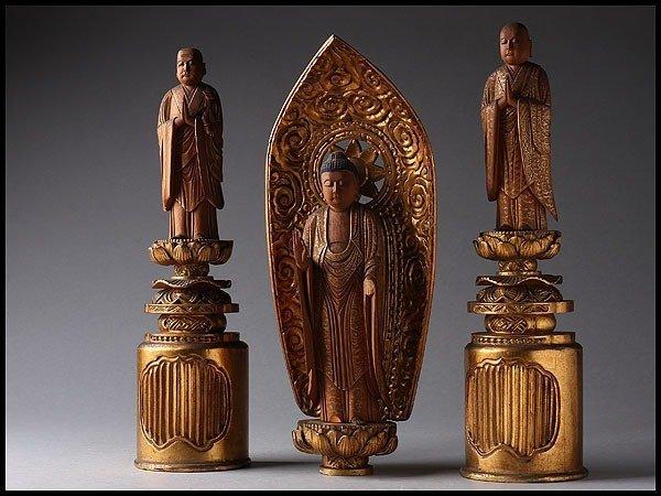Statue-Amidanyorai Budha(阿弥陀如来) with Hounen-shounin(法然上人) and Zendou-taishi善導大師-3 statues carved in - Wood - Japan - 19th century