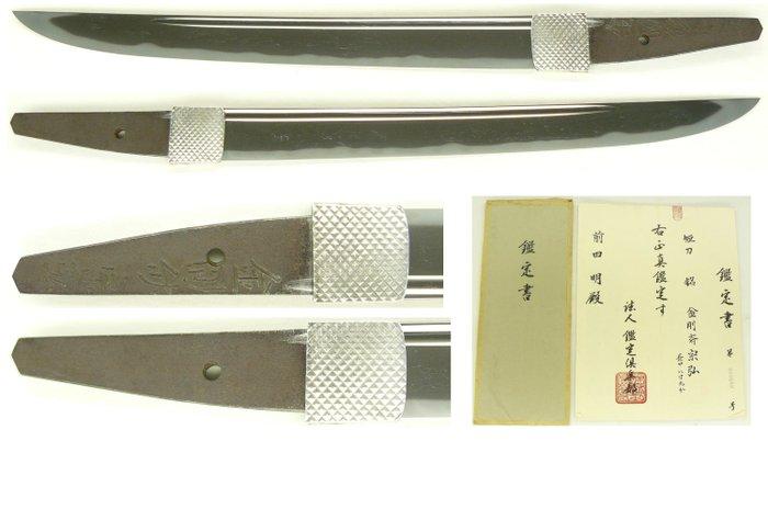 Tanto, with certificate (Kanteisho) (1) - Steel - Samurai - Tanto (短刀) signed Kinkosai Munehiro (金剛斎宗弘) - Japan - 18th century