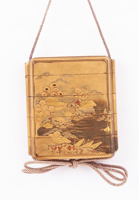 Inro (1) - Lacquer - Landscape - Four Case Inro (印籠) with Landscape Motif - Japan - 19th century