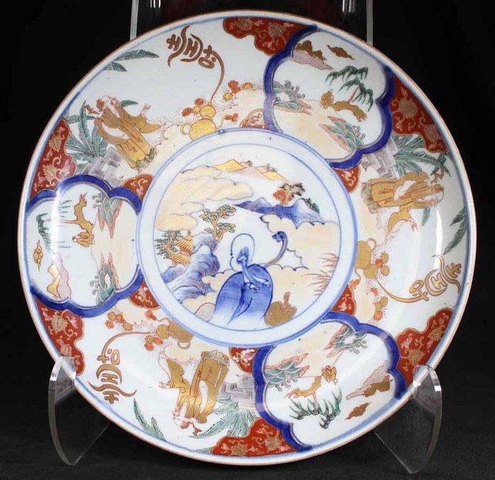 Decorated Man and Mountain Design Large Dish - Marked Fuki choshun 冨貴長春 - Imari - Porcelain - Man - Japan - Meiji period (1868-1912)