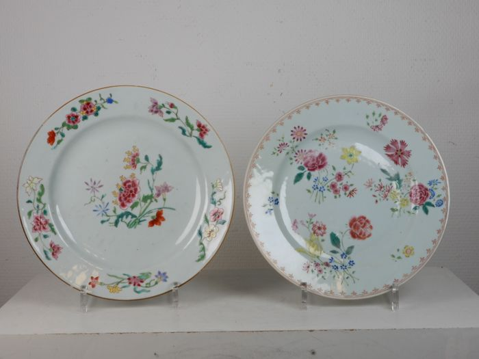 Plates (2) - Famille rose - Porcelain - China - 18th century