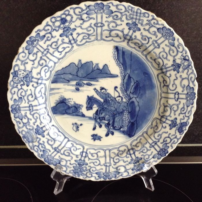 large Chinese dish / 1662-1722, joosje on horse - Porcelain - Joosje on horseback - China - 17th century
