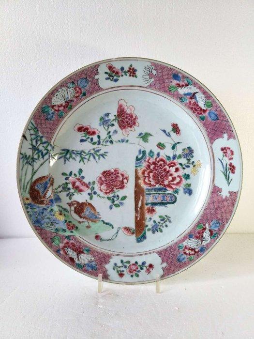 Dish - Famille rose - Porcelain - Flowers, Mandarin duck - China - Yongzheng (1723-1735)