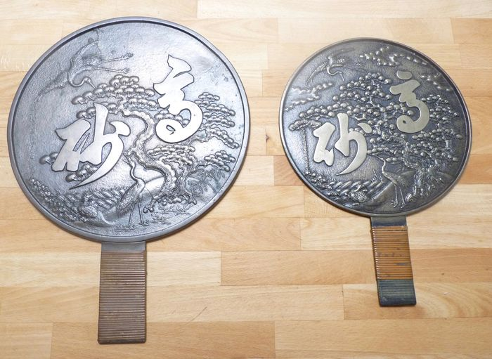 Mirror (2) - Bronze - Fauna & Floral - Edo - Japan - 19th century