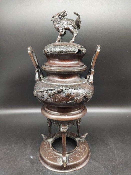 Huge censer on 3 feet with its base - Bronze - Dragon, Foo dog, Phoenix - Japan - Late Edo period