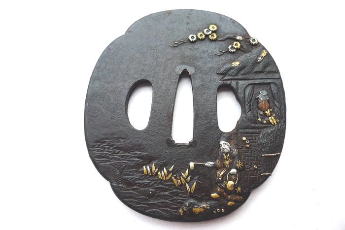 Beautiful gold silver inlay priest motif nature scenery stub with box - Iron - Japan - Edo Period (1600-1868)