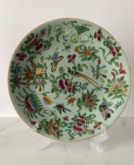 Plate - Famille rose - Porcelain - Flowers - China - 19th century