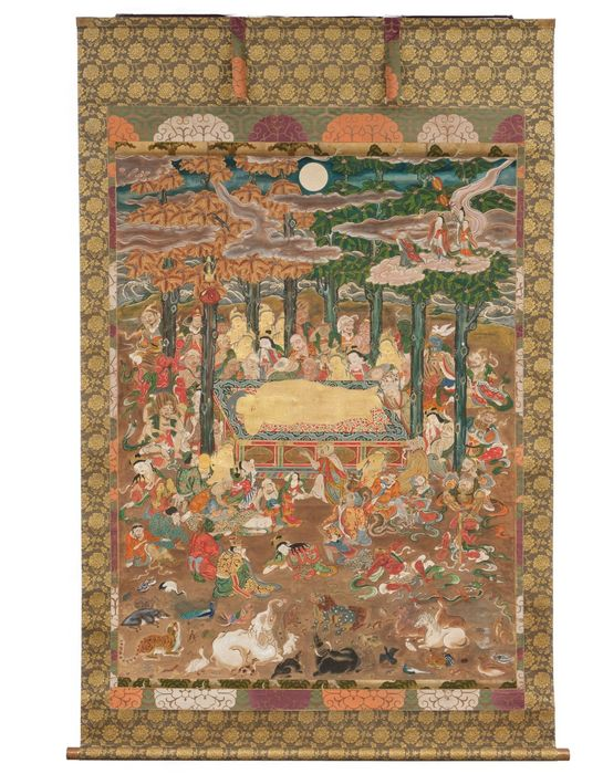 """Large temple kakejiku scroll - painted paper - so called """"Nehan"""" painting - important dated (anno 1810) temple painting depicting the entrance of Buddha into nirvana (Nehan) - Japan - Edo Period (1600-1868)"""