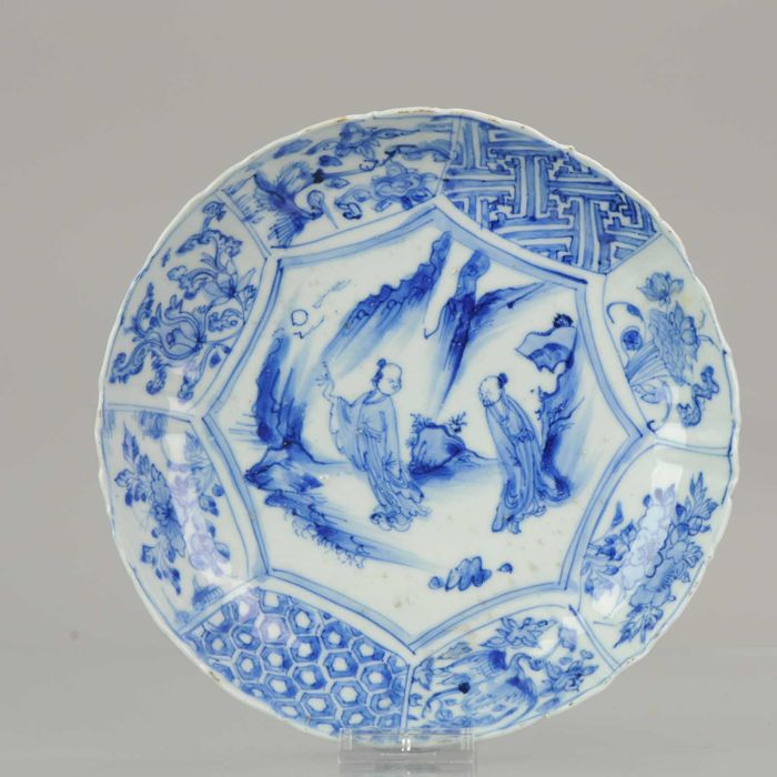 Plate - Porcelain - Antique Chinese Porcelain Late Ming Ca 1600 China Literati Cranes Rocks - China - Ming Dynasty (1368-1644)