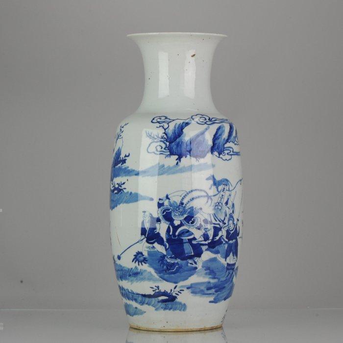Vase - Porcelain - Antique Chinese 19th century Baluster Vase scene of the Heibai Wuchang - China - 19th century