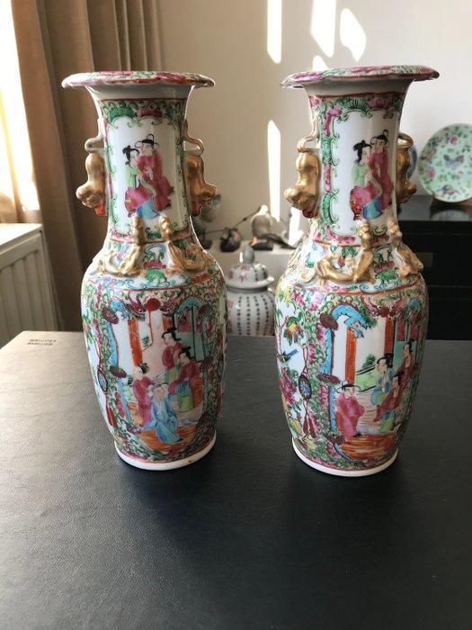 Vases (2) - Canton - Porcelain - China - Qing Dynasty (1644-1911)