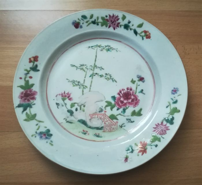 Plate - East India Company - Porcelain - Bamboo- garden-flowers - China - 18th century