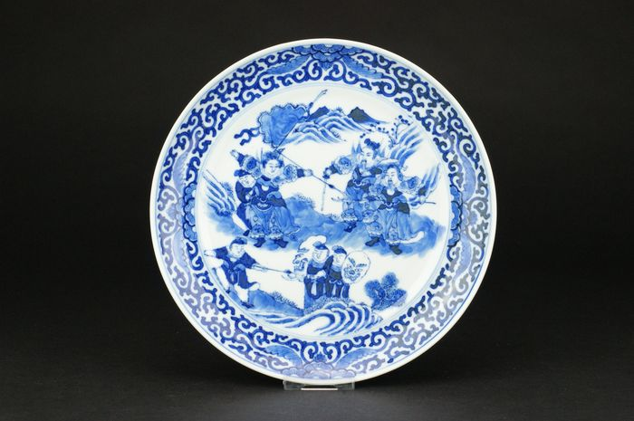 Plate - Blue and white - Porcelain - Warrior - China - 19th century